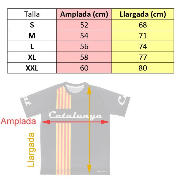 quadre talles samarreta negra senyera catalunya