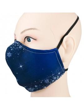 Lateral Mascareta reutilizable de roba FFP2 homologada amb dibuix nit estrelles i flocs neu hivern