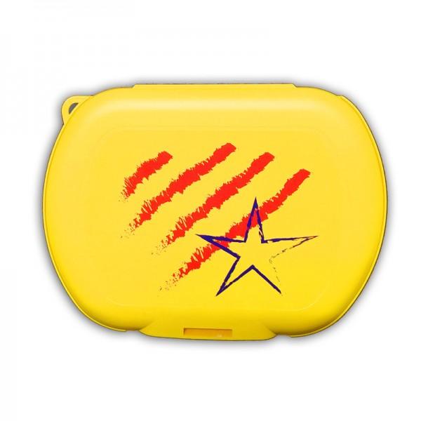 Porta mascareta antimicrobià caixa de plàstic groc amb la Bandera Senyera Estelada de Catalunya
