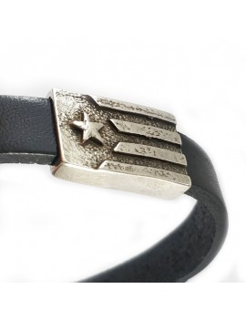 estelada rústica de plata en cuir de braçalet polsera negra