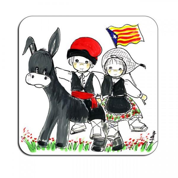 Imant nevera dibuix burro català amb 2 nens